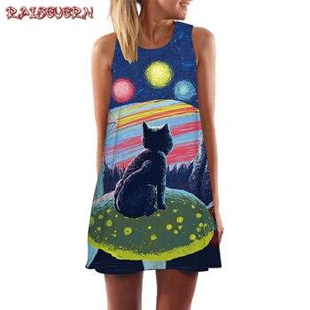 40106a88c2b RAISEVERN без рукавов с принтом кота свободное платье Мода Цветочный ...