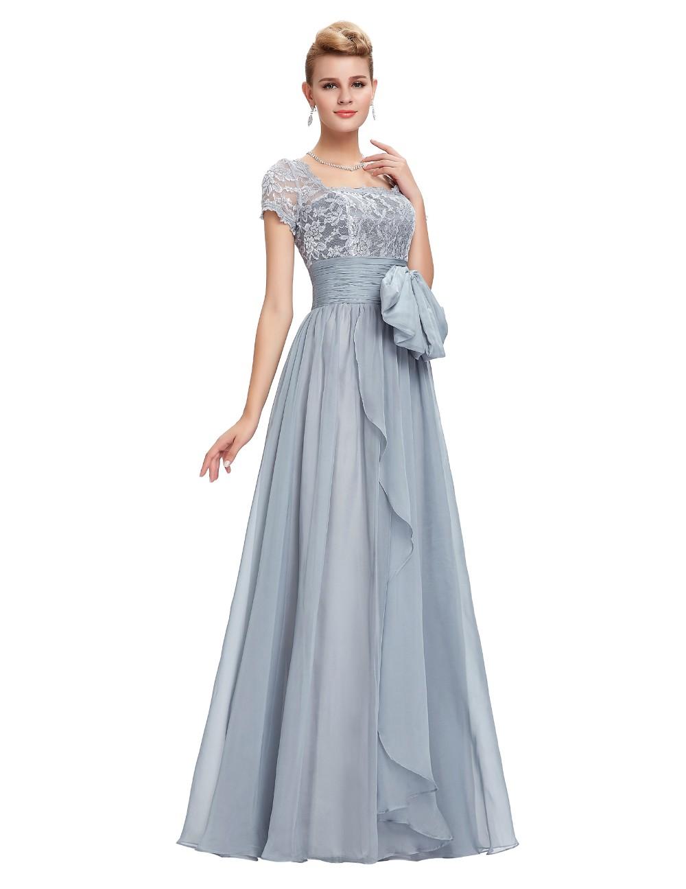 Grace Karin Chiffon Lace Elegant Long Evening Dresses Grey Formal Evening Gowns robe de soiree longue GK4445 6