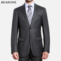 men suits high quality for wedding tuxedo dark gray wool bleed business suits for the best man