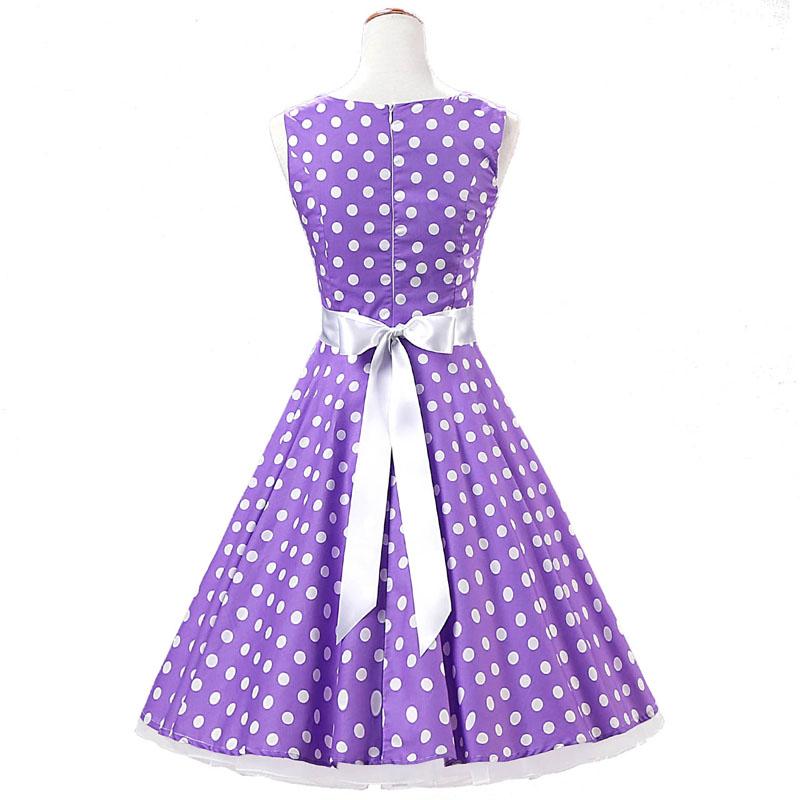 JLI MAY Women vintage dress summer sundress polka Dot 50s hepburn ... c916535da665
