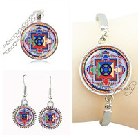 Indian yoga necklace,bracelet,earring for women glass dome om pendant necklace women jewelery sets sacred geometry pendant