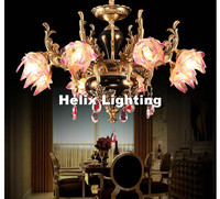 Modern European Antique Brass Zinc Alloy Candle Crystal Chandelier E14 LED Light For Bedroom Dinning Room Lounge Area Hotel Lamp