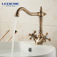 LEDEME Fashion Europe Style Kitchen Faucet Total Brass Bronze Finished Swivel Kitchen Mixer Tap Sink Tap