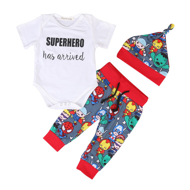 7ac561178145 3PCS Newborn Kids Baby Boy Clothes Letter Super Hero Has Arrived Printed  Cartoon Romper Pants Hat 3PCS Outfits Set