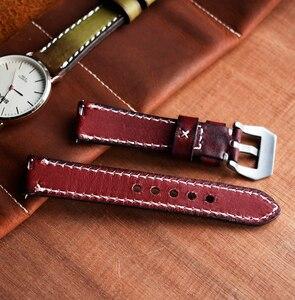 Image 3 - Onthelevel Correa de reloj de cuero genuino estilo Vintage, correa de cuero de 20 a 22mm, banda de reloj rojo amarillo, naranja y verde para Panerai # C