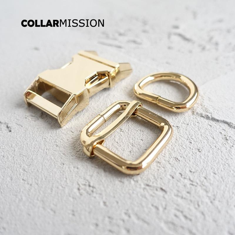 50sets lot metal buckle adjust buckle D ring set DIY dog collar 20mm golden webbing accessory
