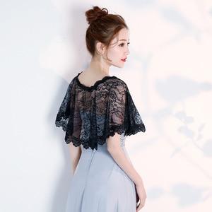 Image 3 - JaneVini Elegante Preto do Verão Do Laço Nupcial de Casamento Bolero Wraps Mulheres Baratos Curto Cape Xailes Roubou Outwear Acessórios Do Casamento