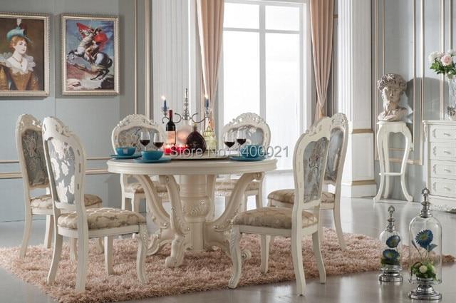 Luxe houten ding tafel en stoel witte kleur eetkamer sets