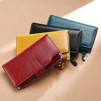 Best selling RFID anti magnetic ladies retro leather wallet Long oil wax leather leather multi card three fold wallet