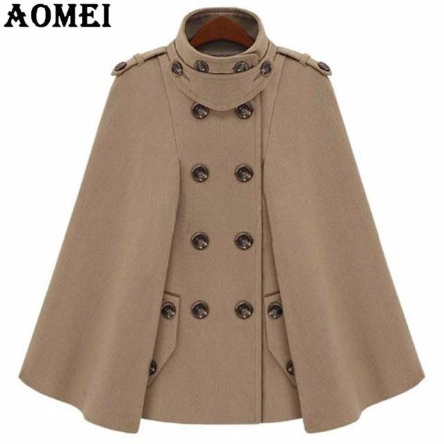 fashion camel color woolen coats cloak for women workwear winter office lady outwear double button 2018 - Camel Color