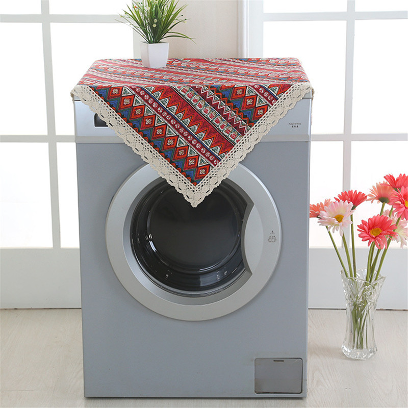 Furniture Dust Cover Fabric: Square Linen Washing Machine Dust Cover Household