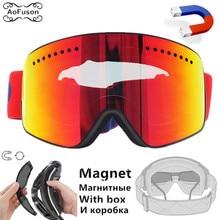 все цены на Magnetic Ski Goggles, Professional Double UV400 Anti-fog Big Spherical Men Women Mask Skiing Snowboard Glasses Eyewear With Box онлайн