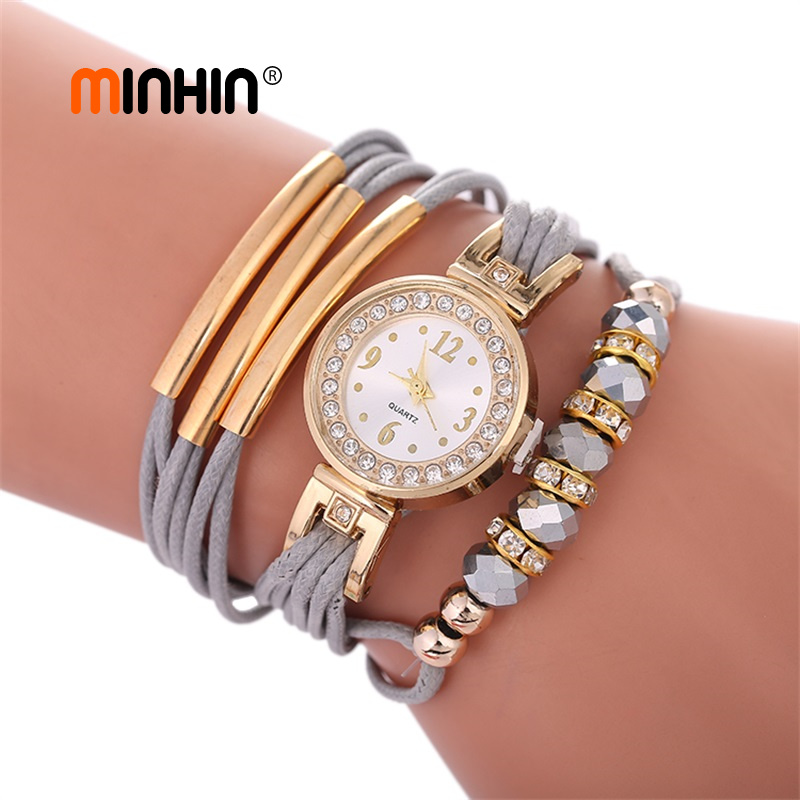 MINHIN New Fashion Leather Bracelet Watches For Women African Beads Charms Gold Rhinestone Watch DIY Rope Wrist Watch Gift