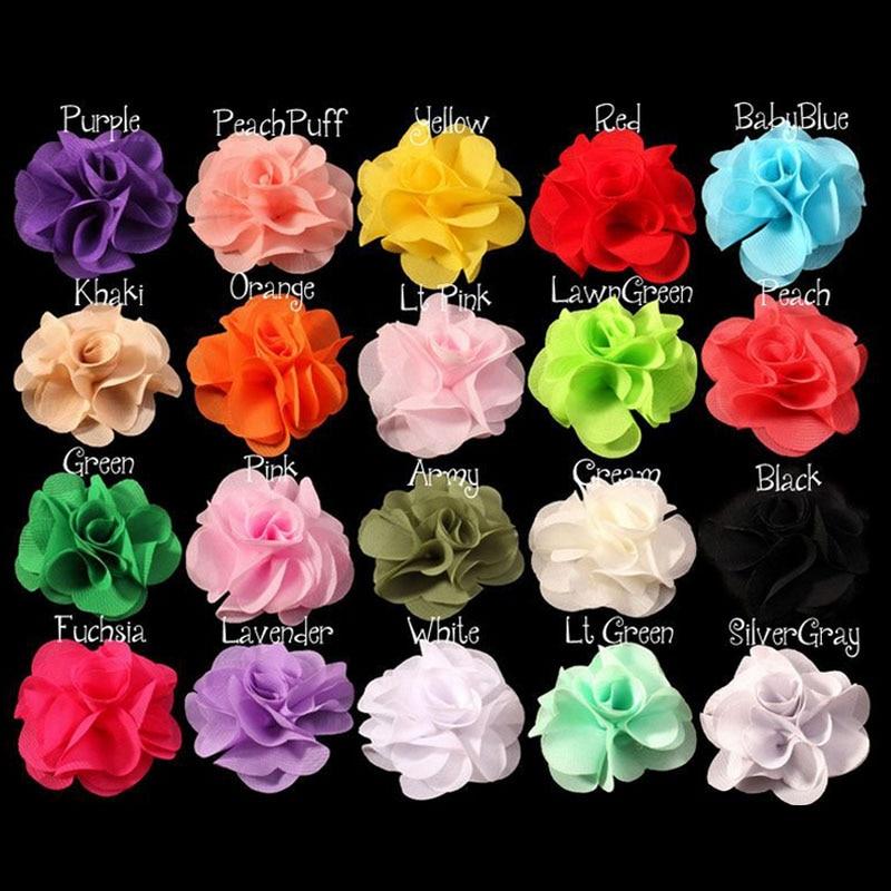 20pcs/Lot 6.5cm 20Colors Soft Chiffon Flower For Kid Girls Hair Bow without Clip Flowers Dress Decoration