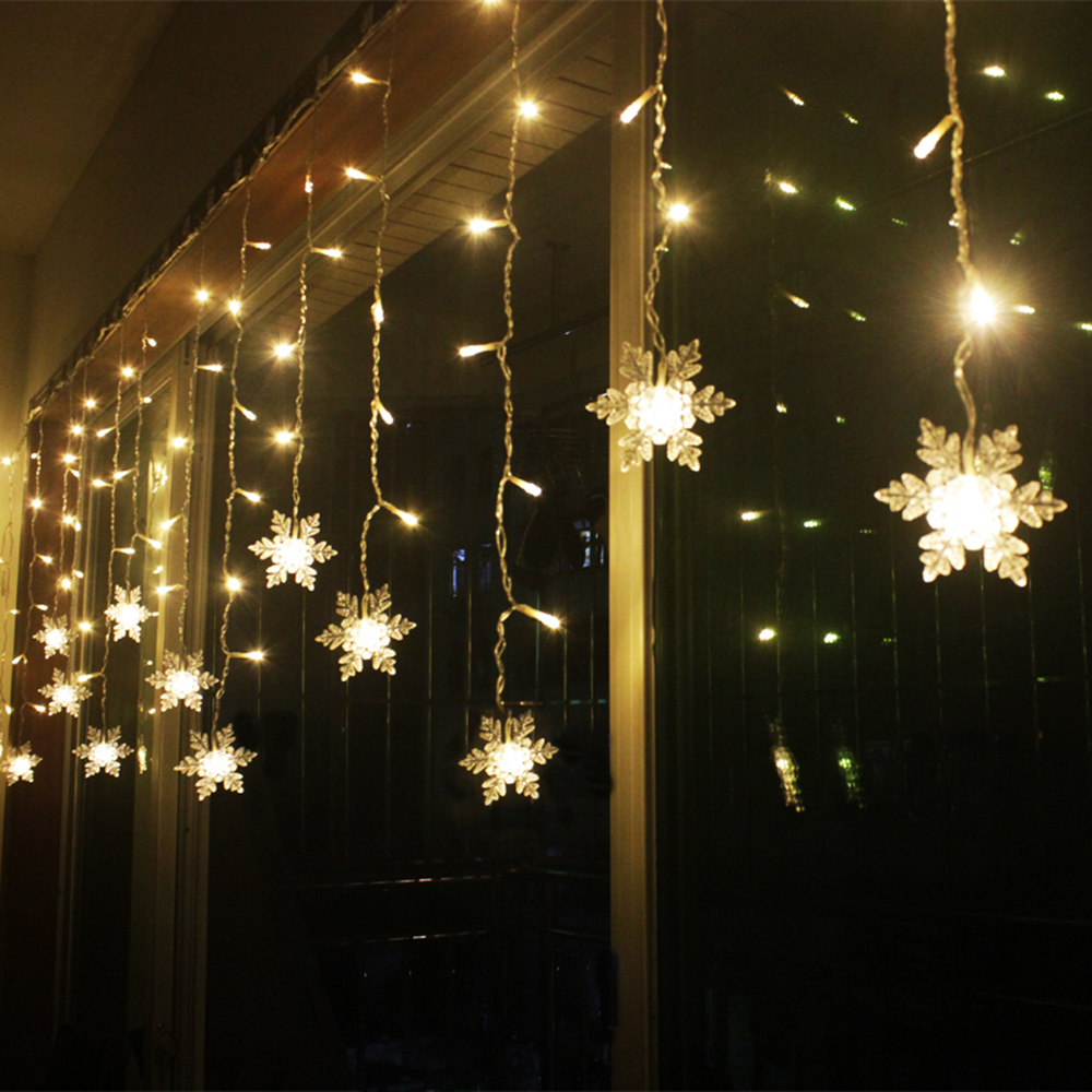 2 * 1M LED Gardin String Light Snowflake Fairy Lights För Julhelg - Festlig belysning - Foto 3