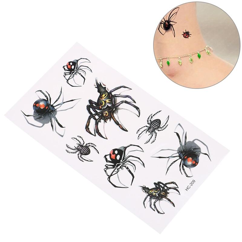 5PCS  19*9cm Waterproof Tatoo Home Decor Wall Sticker Sexy Black Spider  Temporary Tattoo Body Art Flash Tattoo Stickers
