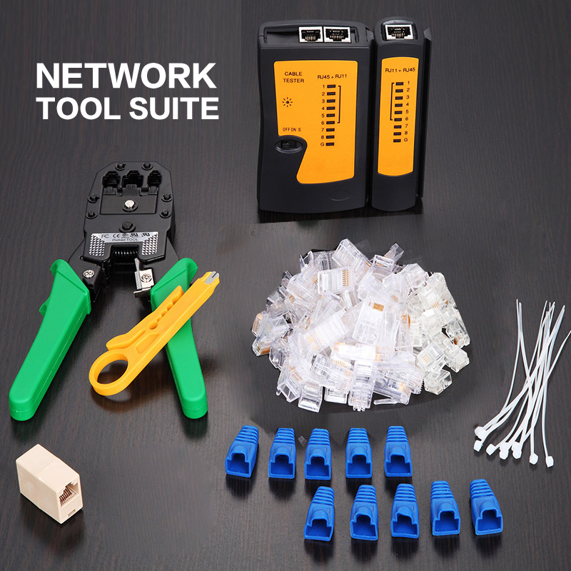 Professional RJ45 RJ11 RJ12 CAT5 CAT5e Portable LAN Network Tool Kit Utp Cable Tester AND Plier Crimp Crimper Plug Clamp PC pz0 5 16 0 5 16mm2 crimping tool bootlace ferrule crimper and 1k 12 awg en4012 bare bootlace wire ferrules