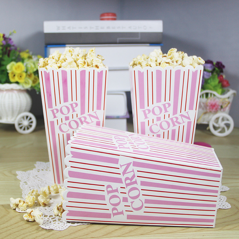 Large size pink stripes popcorn box paper box for party for Application box decoration