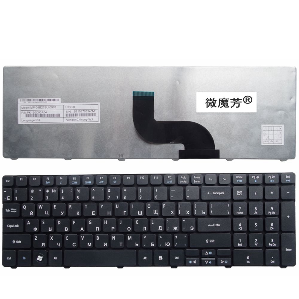 Ru For Acer FOR Gateway ZQ2 ZR7 ZYB 5800 7251 7331 7336 Laptop Keyboard New Black Russian цена