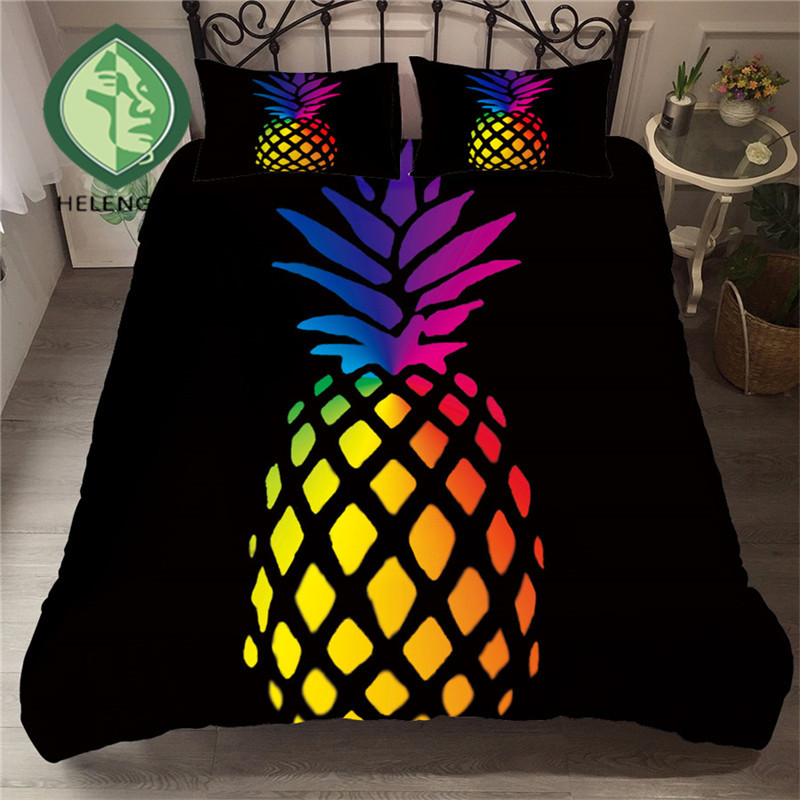 HELENGILI 3D Bedding Set Pineapple Print Duvet Cover Set Bedclothes With Pillowcase Bed Set Home Textiles #BL-25