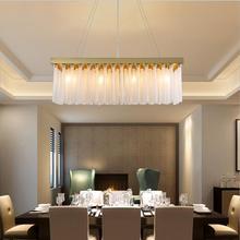 Candelabro de cristal posmoderno, candelabro rectangular dorado de lujo para restaurante, accesorio de iluminación led Vintage para el hogar y la sala de estar