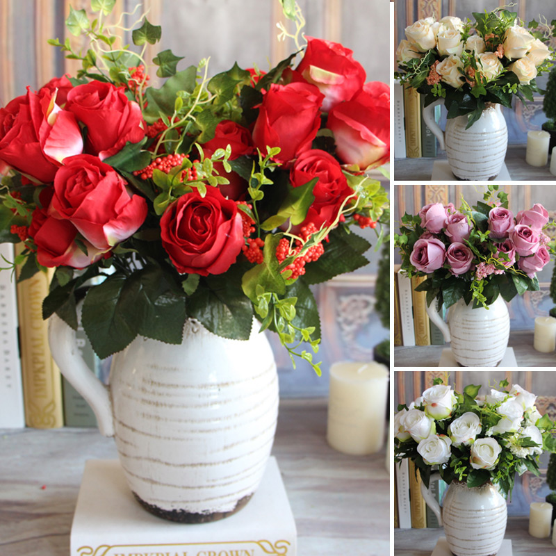 New Charming Beautiful Artificial 9 Heads Spring Rose Flowers Floral Wedding Home Hotel Desk Party Decor