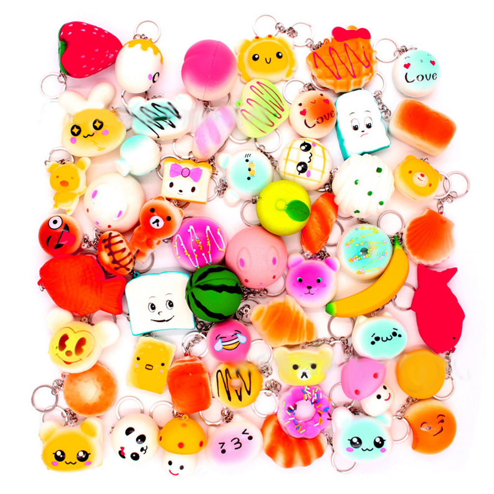 Satkago 15 PCS Funny PU Hanging Squishy Toy Charms Key Chain Pendant for Relieves Stress Bag Purse Wallet Decor Random Style