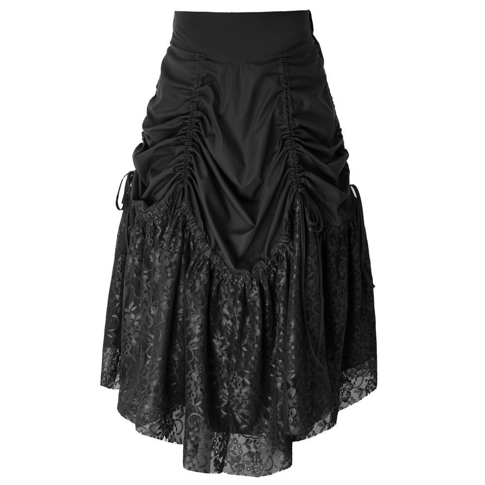 BP  Women Retro Clothes Gothic Skirt Vintage Victorian Steampunk Floral Lace Patchwork Ruching Skirt Faldas Largas Elegantes
