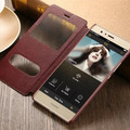 luxury flip pu leather coque cover case for huawei p9 lite p9lite g9 original stand phone black window view back plastic cases