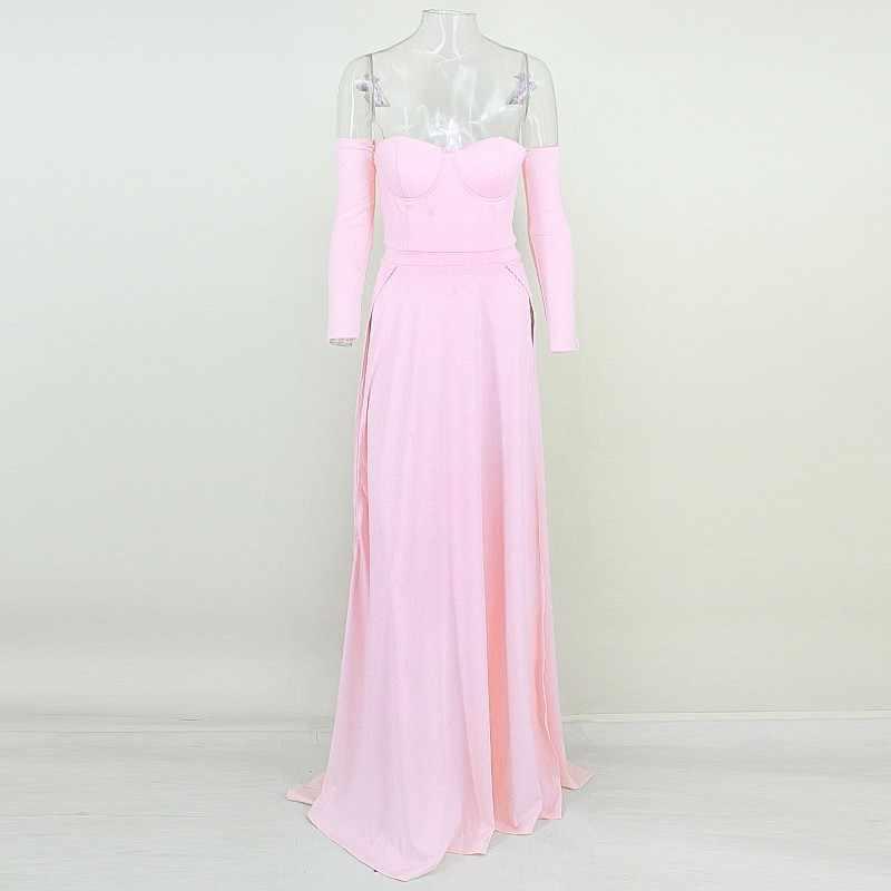 Yissang белое платье Для женщин с открытыми плечами летние пикантные белые макси платья с длинным рукавом высокая Разделение вечерние элегантное платье