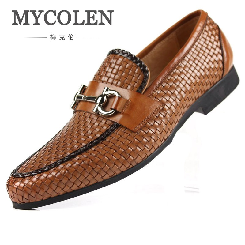 MYCOLEN Hand Woven Genuine Leather Dress Formal Shoes Luxury Men'S Flats Slip-On Mens Loafers Wedding Shoes Men Loafers mycolen mens loafers genuine leather italian luxury crocodile pattern autumn shoes men slip on casual business shoes for male