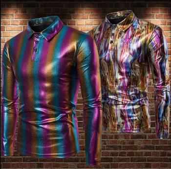 fashion slim sexy shirt men rainbow Gradient Metal glossy lapel Long sleeve bronzing teenage shirts singer stage