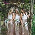 Elegant Adult Bridesmaid Dresses Long S2017 equined Skirt Chiffon Top Vestido Madrinha Longo V Neck Gown Bridesmaid