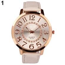 2015  Men's Women's Roman Design Big Numerals Rhinestone Dial Faux Leather Quartz Analog Wrist Watch W2E8D