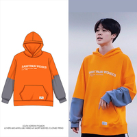 kpop Hoodies JIMIN Same Style Spring Harajuku Printed Fashion Sweatshirt Fans Men Orange Patchwork Coat moletom masculino