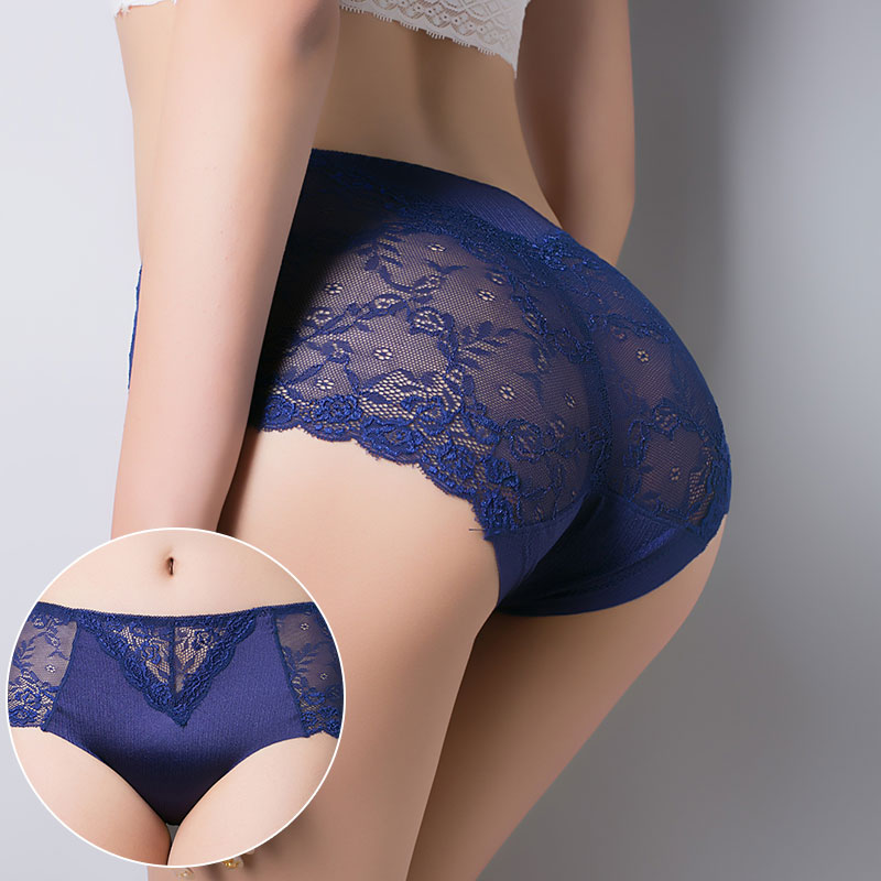 Buy Fashion Women Soft Underwear Solid Cotton Crotch Briefs Sexy Lingerie Lace Traceless Mid Waist Floral Panties Female 3XL 47