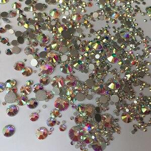 Image 3 - Super Glitter SS3 SS30 1440 Pcs Crystal Ab Flat Terug Nail Strass 3D Niet Hotfix Nail Art Decoratie Glas Manicure Accessoires