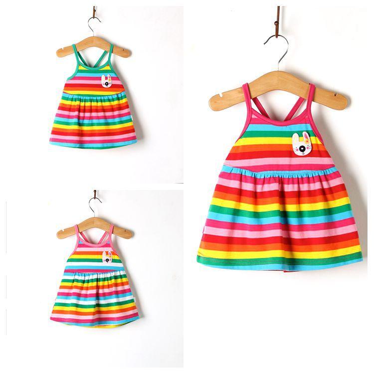 The little girl 2017 newborn infants children 0-1-2 years old baby summer dress vest dress