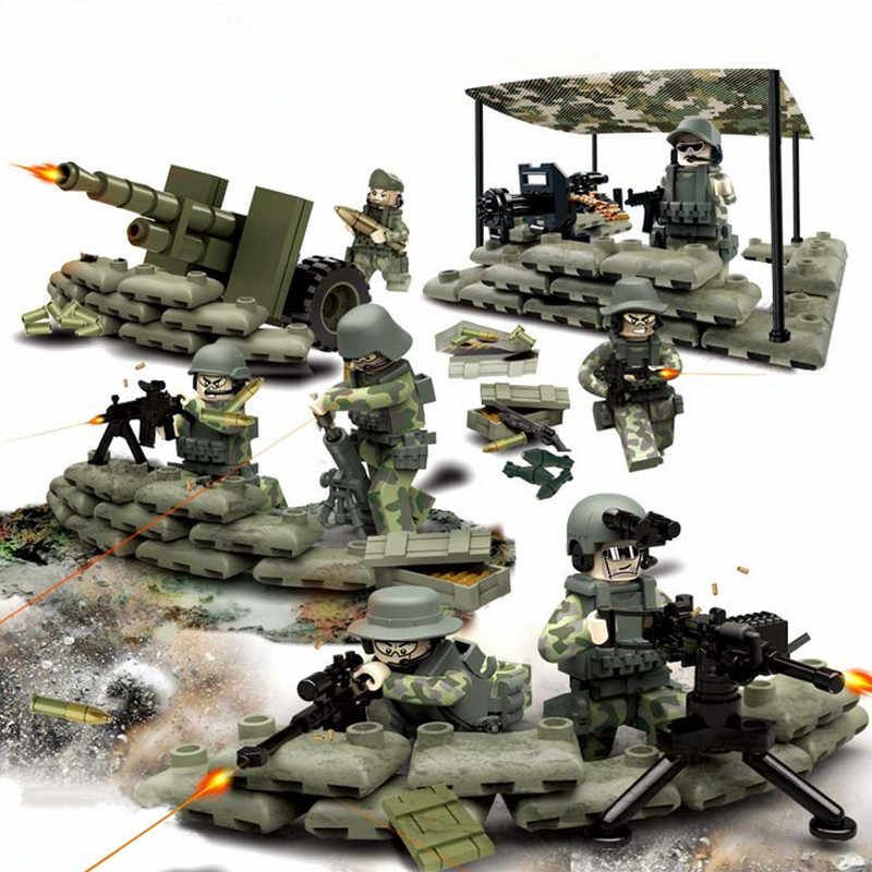 4 in 1 Compatible LegoINGlys World War 2 Soldier Military SWAT Weapon Gun German Army Building Blocks Figures Toy for Boys Gift