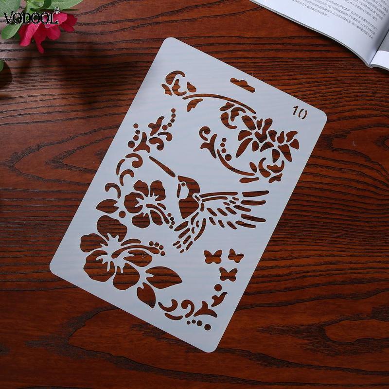 VODOOL Flower Bird Hollow Ruler шаблон DIY Фотоальбом инструмент для рисования Скрапбукинг карта ремесло для фотоальбома инструмент для украшения