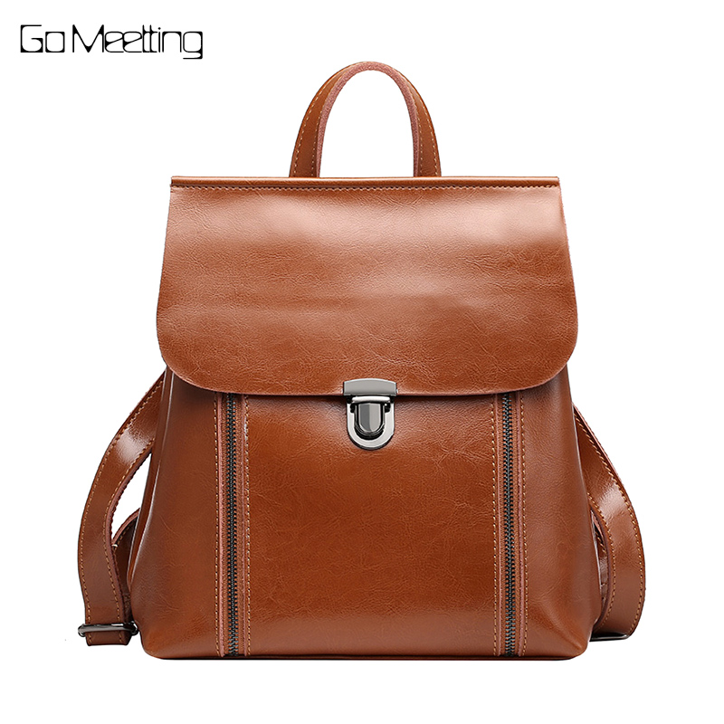 Fashion Genuine Leather Women Backpack Quality Natural Leather School Backpack for Teenage Girl Vintage Female Daily Bags antique brass bathroom toilet c eaner brush holder archaize toilet rack holder bathroom hardware accessories toilet brush holder