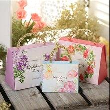 50 шт/партия романтическая коробка для конфет с цветами ручка конфеты мешок дизайн