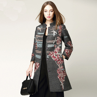 New Arrival Ethnic Style 2 Colors Solid Grey and Red Embroidery Women Autumn Winter Long Coat Single Breasted Pockets Trench