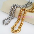 "16-40"" Custom Sizes Silver Gold Tone Stainless Steel 6MM Width Weave Braid Chain Necklace For Cool Biker Men's Christmas Gifts"