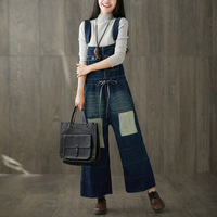 Personality patchwork denim women jumpsuit plus size wide leg pants drawstring elastic waist rompers washed casual tide overalls