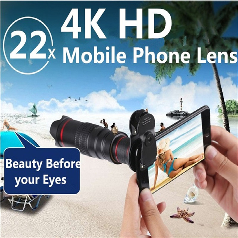 Clip HD 4 K 22x Zoom teléfono móvil telescopio lente teleobjetivo lente de cámara externa para el IPhone Samsung teléfonos