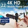 Clip Halter HD 4 karat 22x Zoom Handy Teleskop Objektiv Tele Externe Smartphone Kamera Linsen Für IPhone Sumsung handys-in Handy-Objektive aus Handys & Telekommunikation bei