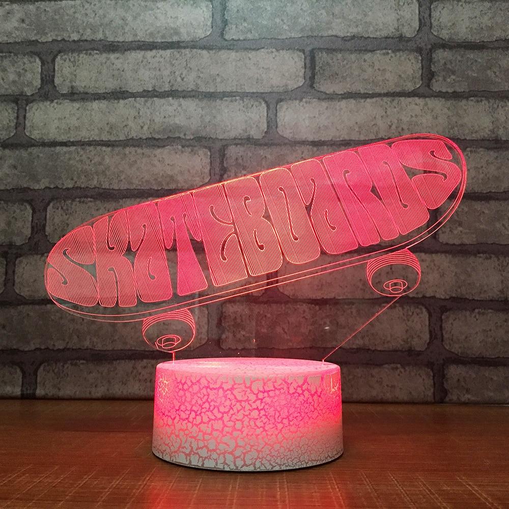 Kinder Touch Taste 3d Led Acryl Tisch Lampe Visuelle Skateboard Nacht Licht Mode Usb Baby Schlafzimmer Home Decor Beleuchtung Geschenke