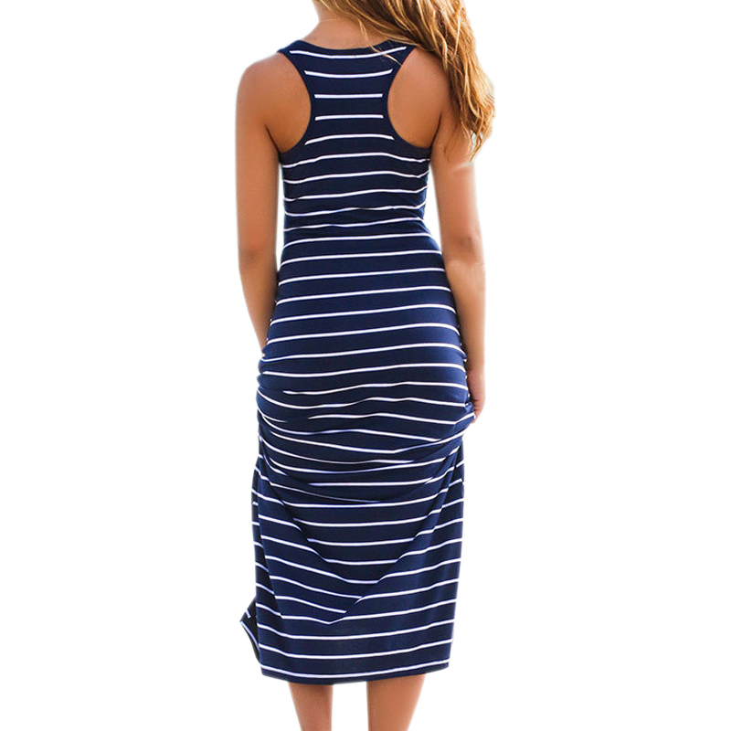 Women Plus Size Maxi Long Dress Summer Loose Casual Cotton Ladies Beach Vest Dress Striped Boho Long Sleeveless Tank Dress M0095