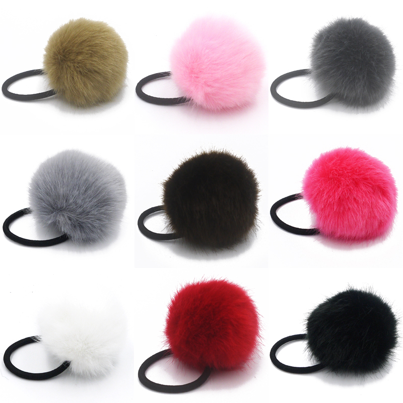2017 New Artificial Rabbit Fur Ball Elastic Hair Rope Rings Ties Bands Pony..